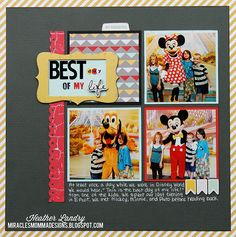 The Best Day Of My Life - Scrapbook.com - Love the grid of photos and the journaling with white gel pen on black cardstock!