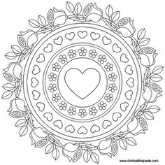 Roses and forget-me-nots mandala to color #digitalstamp #scrapbooking #Valentine