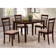 Samuel 5-Piece Dining Set, Espresso, Rectangular leg table, solid top