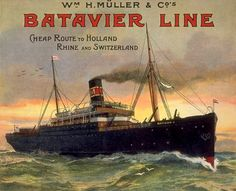 Batavier Line Holland Rhine And Switzerland - www.MadMenArt.com features over 500 Vintage Ocean Liner Ads, Posters and Magazine Covers from 1891 until 1970. #Vintage #OceanLiners #Ships #Boats #Steamboats #Navy #Nautics #Shipping