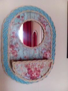 Toaletka,decoupage,upleteno z pedigu a papírového provázku