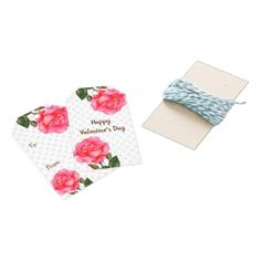 Watercolor Pink Rose Polka Dot Valentines Day Gift Tags - pink gifts style ideas cyo unique