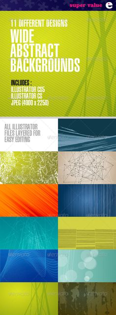 Wide Abstract Backgrounds – Pack of 11 Designs