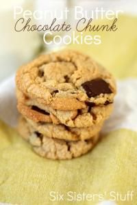 Six Sisters Peanut Butter Chocolate Chunk Cookies Recipe. Our family loves these cookies! #sixsistersstuff