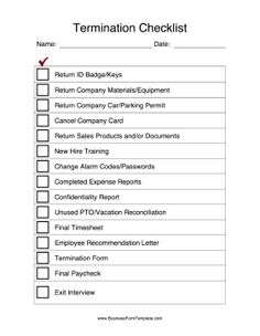 After an employee leaves a company, use this termination checklist to get back all company property and conduct exit interviews. Free to download and print