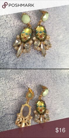 Dangly Green and Crystal Statement Earrings 3 Tier dangly statement earrings, look great with any hair color! Only worn a few times and are in excellent condition! Francesca's Collections Jewelry Earrings
