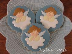 Christening/Baptism Angels Angel Cookies, Baby Cookies, Baby Shower Cookies, Royal Icing Cookies, Cupcake Cookies, Christening Cookies, Baby Candy, First Communion Cakes, Baby Milestones