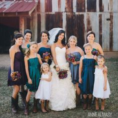 Maggie Sottero wedding gown, jewel tone bridesmaid's dresses, & cowboy boots