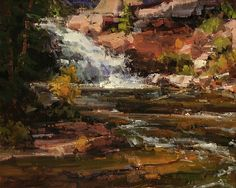 River Falls by Kathryn Stats - Greenhouse Gallery of Fine Art Mountain Landscape, Landscape Art, Landscape Paintings, Oil Paintings, Maria Emilia, Southwest Art, Weird Pictures, Traditional Paintings, Cool Landscapes
