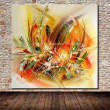 Moderne Artiste Peint à La Main Abstraite Fleurs Peinture à