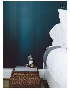 Dark teal wall, light linen bedspread
