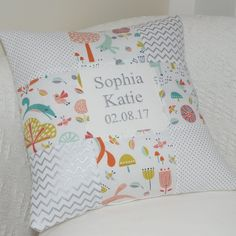 Forest Friends Name and Date Cushion, woodland theme, woodland animals Woodland Theme, Woodland Animals, Little Girl Gifts, Little Girls, Silver Cushions, Forest Friends, Gender Neutral, Sewing Crafts, Personalized Gifts
