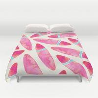 Pink Surf Duvet Cover Pattern Design Bedroom Bed Surfboards