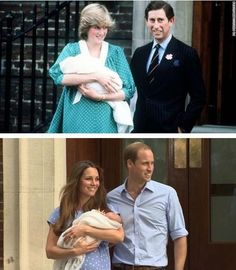 Now and Then...Diana shows her new son to the waiting media on June 22, 1982 and Kate shows her new son on July 23, 2013. Neither royal baby had a name when they left the same hospital 31 years apart.