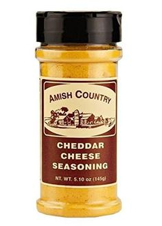 """The Amish Country Cheddar Cheese seasoning is 5.10oz. This powdered seasoning is the perfect """"something extra"""" for topping your popcorn!  The zesty flavor of cheddar cheese will make your homemade popcorn impossible to resist! Try it on chips, fries or whatever."""
