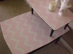 pink white retro side table 015 by Parlour Home, via Flickr-and the same table again.
