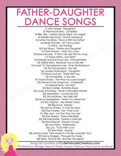 Father Daughter Dance Songs for Mitzvahs and Weddings – Top 40 Songs – FREE Printable List FREE Printable List of Top 40 Father Daughter Dance Songs for Bat Mitzvah, Weddings, Sweet 16 and Quinceaneras by Cutie Patootie Creations. Wedding Dance Songs, Wedding Playlist, List Of Wedding Songs, Country Wedding Songs, Country Weddings, Wedding Songs Reception, Wedding Party Songs, Wedding Venues, First Dance Songs