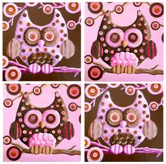 Owl paintings..brown and pink acrylic paint and buttons