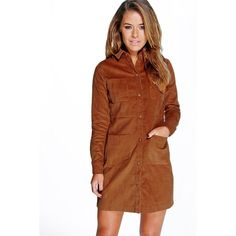Boohoo Petite Petite Emily Cord 4 Pocket Shirt Dress featuring polyvore, women's fashion, clothing, dresses, tan, brown bodycon dress, brown cocktail dress, bodycon cocktail dress, holiday dresses and layering cami