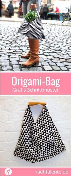 Origami-Bag selber nähen. Gratis Nähanleitung für ein japanische Origami-Tasche. ✂ Jetzt Nähtalente.de besuchen - Magazin für kostenlose Schnittmuster ✂ #nähen #freebook #schnittmuster #gratis #nähenmachtglücklich #freesewingpattern #handmade #diy