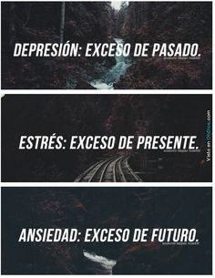 Depression: Excess of the past. Stress: Excess of the present. Anxiety: Excess of the future. Sad Quotes, Life Quotes, Inspirational Quotes, New Words, Wise Words, More Than Words, Spanish Quotes, Beautiful Words, Mantra