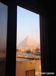 View of the pyramids from our room at Guardian Guest House for only $60 a night!