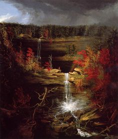 Born on this day Thomas Cole, The Falls of Kaaterskill (Thomas Cole (1801-1848) was an English-born American Artist. He is regarded as the founder of the Hudson River School, an American art movement that flourished in the mid-19th century. Cole's Hudson River School, as well as his own work, was known for its realistic and detailed portrayal of American landscape and wilderness, which feature themes of Romanticism and Naturalism.)