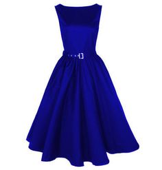 Vintage Audrey style dress in royal blue