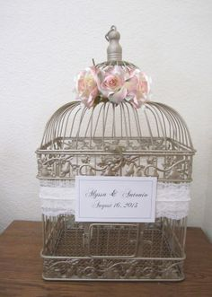 Romantic Roses, Lace and Pearls-Large Champagne/Gold Bird Cage-Wedding card holder