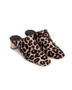 MAYA - Mule - Leopard pattern Gold Block Heels, Pony Hair, Leopard Pattern, Hot Shoes, Maya, Slippers, Footwear, Pairs, Leather