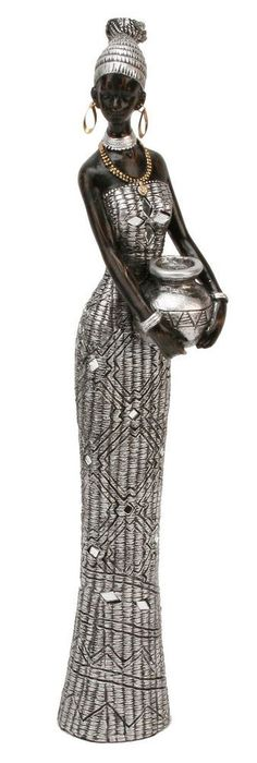 Black & Silver African Masai Lady 36cm Figurine Gift Ornament Statue Maasai in Collectables, Decorative Ornaments/ Plates, Figurines/ Figures/ Groups | eBay