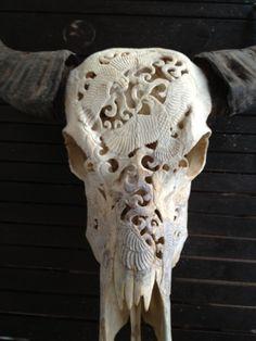 Skulls Two Kill Four - Hand Carved Cow Skull Art for Sale in Australia