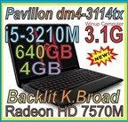 "HP Pavilion DM4-3114tx 14"" i5-3210M 3.1GHz 4GB 640GB DVD-RW HD7570M Win 7"