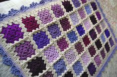 Purple Patchwork Baby Afghan  The Scrappy Purple by tillietulip