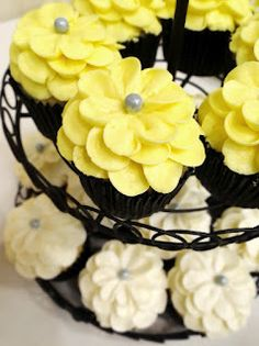 Libby's Cupcakes Etc: Gray + Yellow Wedding Cake + Cupcakes    I love this whole table set up!