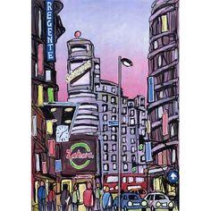 Jose G. Alcalá, Jose G. Gran Via, Madrid. Paper Board, Andalucia, Primark, Illustrators, Whimsical, Pop, City, Drawings, Artwork