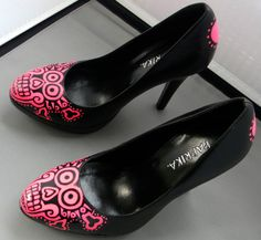 Day of the dead hand painted pink shoes. $50.00, via Etsy.