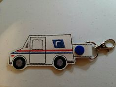 POST MAN OFFICE MAIL TRUCK DELIVERY TRUCK KEY CHAIN FOB SNAP TAB PURSE CHARM
