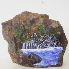 Acrylic on rock #hraunfossar #waterfall #runaartpaint #littlepieceoficeland…
