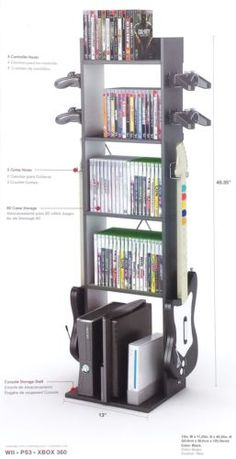 New-Tower-Video-Game-Stand-Storage-Rack-Xbox-PS3-Controller-Console-Media-Holder