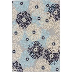 Featuring a stylish abstract floral pattern in beautiful colors like grey and light blue, this elegant rug offers an accent that's both fashionable and functional.