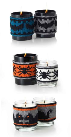 Free Knitting Patterns for Bat Toy and Halloween Candle Cozies with Bat, Spider, and Black Cat Motifs - MillaMia's bat decoration / softie uses a tennis or polystyrene ball for the body and a pipecleaner to provide a bit of structure to the wings. Diy Halloween, Crochet Pour Halloween, Halloween Candles, Fall Knitting Patterns, Free Knitting, Knitting Projects, Crochet Patterns, Monster Party, Crochet Classes