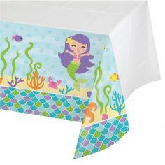 Plastik TischdeckeMotiv: kleine Meerjungfrauleichte dünne Folie - EinwegwareGröße: 137 x 212 cmInhalt: 1 Stückam Rand ca. 25 cm hoch bedruckt - in der Mitte frei für die Deko