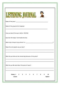 The worksheets in this 15 page booklet can be used in conjunction with a unit of study into any music style/genre. Music Lesson Plans, Music Lessons, Music Journal, Middle School Music, Music Worksheets, Piano Teaching, Music Activities, Co Working, Elementary Music