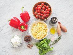 Těstoviny s krémovou paprikovou omáčkou - My Cooking Diary Fusilli, Linguine, Penne, Ricotta, Vegetables, Cooking, Outfit, Food, Red Peppers