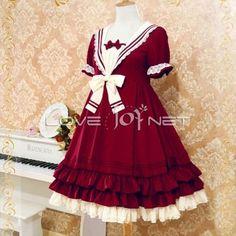 Navy Style Chiffon Lolita Fashion Dress 4 Colors
