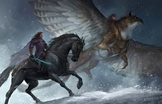 Griffin and horse art