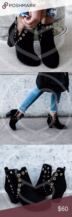 "TYRA Cut Out Booties - BLACK Super comfy and chic!  Strike a pose with these stand out booties and you are sure to get noticed.    Fit true to size  Heel:  approx 2.5""  NO TRADE  PRICE FIRM Shoes Ankle Boots & Booties"