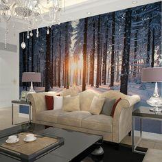 Aube lumière du soleil de neige d'hiver bouleau arbres forestiers nature paysage paysage modèle hd tirages photo décoration murale peintures murales de papier peint(China (Mainland))