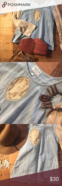 Two toned Indian shirt in S Faded blue & faded brown with beautiful detail Sustain Life Tops Blouses